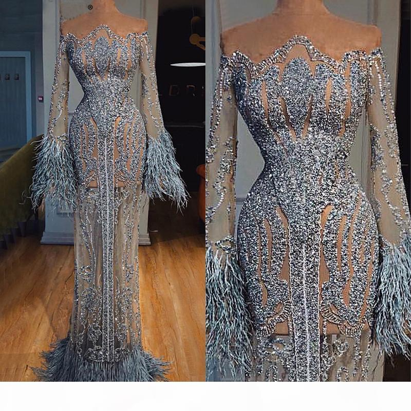 Gorgeous Evening Dresses With Sash Long Sleeves Glitter Sequins Feather Sheath Prom Dress 2020 Newest Ruched Custom Made Long Pageant Gown