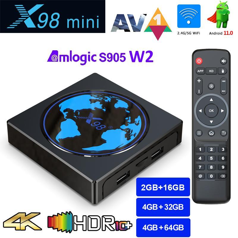 X98mini Amlogic S905W2 TV Box Android 11 4G 64GB X98 mini Support AV1 Wifi BT Media Player 4GB32GB Set TopBox