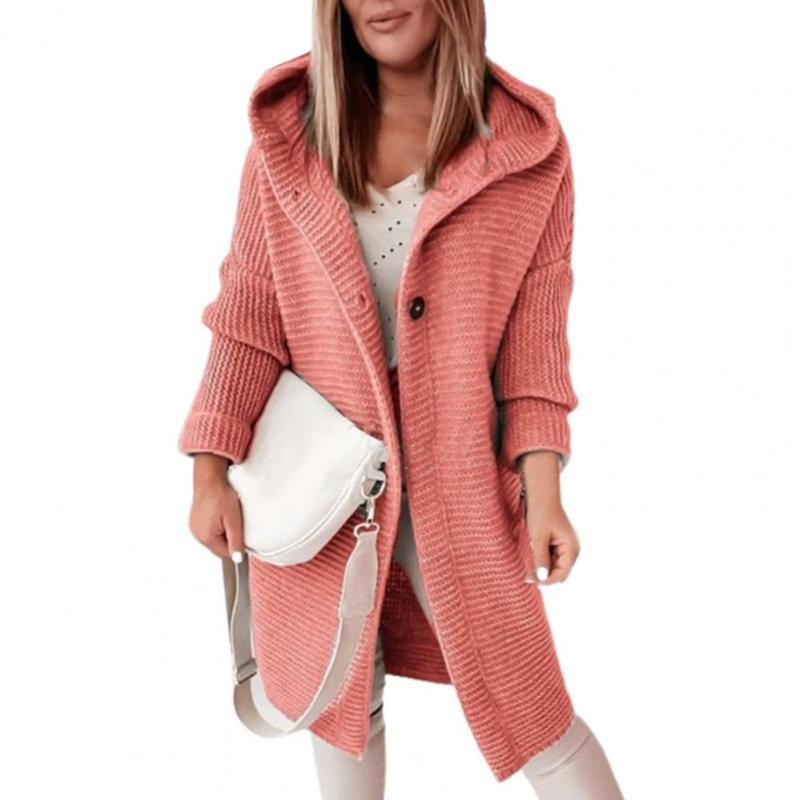 Women's Trench Coats Winter Knitted Cardian Sweater Hoodies Ladies Long Sleeve Solid Loose Button Tops Soft Oversized Femme