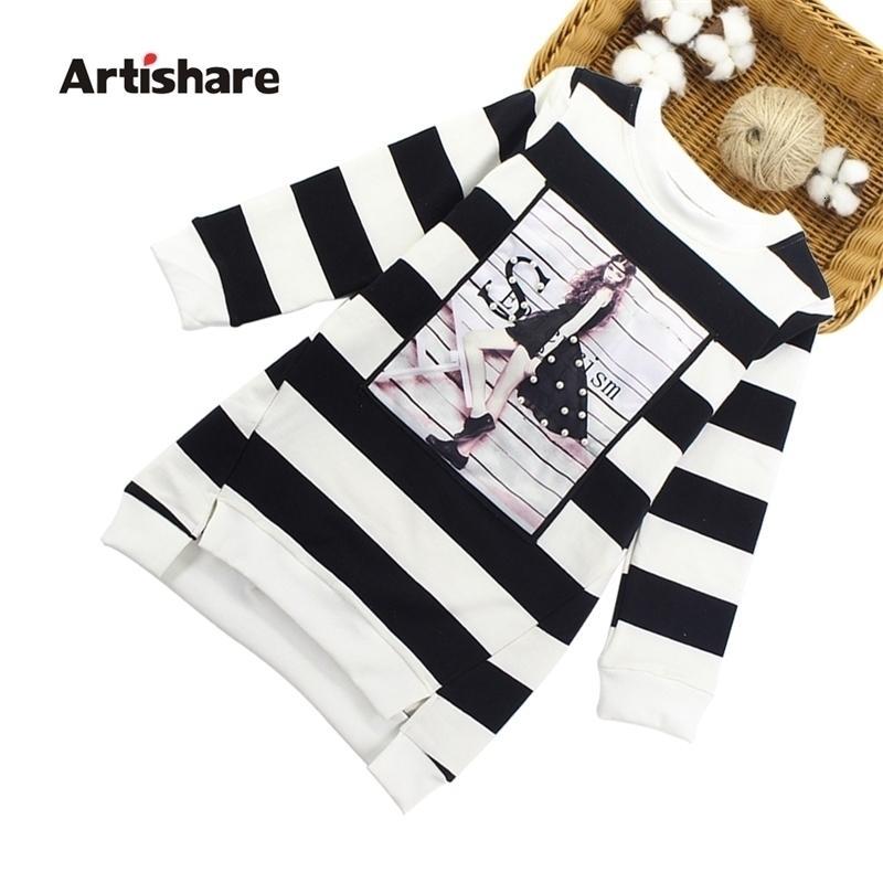 Artishare meninas vestidos primavera outono meninas grandes moletom vestido 100% algodão mangas compridas crianças meninas roupas 6 8 10 12 14 ano 201204