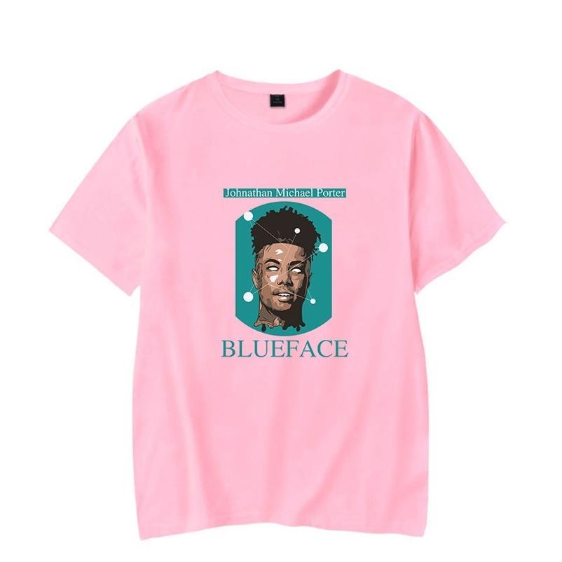 Alta Qualidade Rapper Cantor Blueface Rosa T-shirt Homens / Mulheres Verão Moda Casual Hip Hop T Shirt Cópia Blueface Curto Camisetas 210329