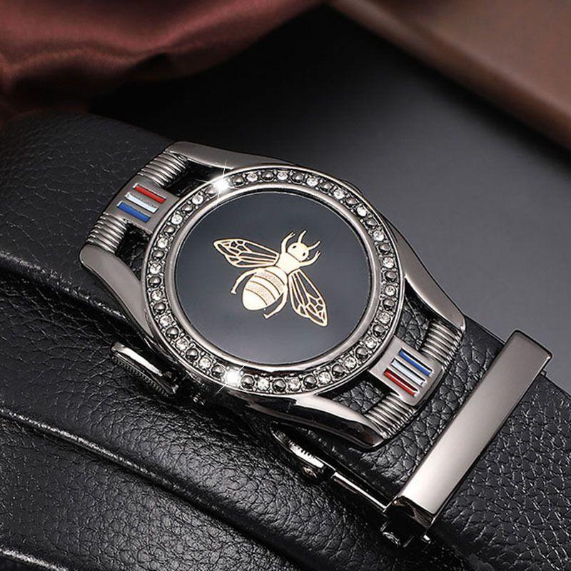 Мужской ремень дизайнер Новый, Имитационная кожаная автоматическая пряжка, модная алмазная пчела кнопка