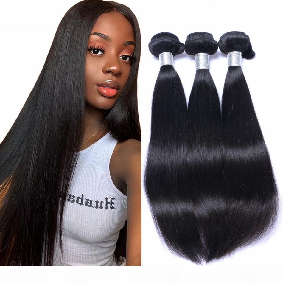Brasilianisches menschliches Haar webt 3 Bündel Gerade Reines Haar Nicht Remy Haarverlängerungen Natürlich Schwarz Billig Doppelschuss
