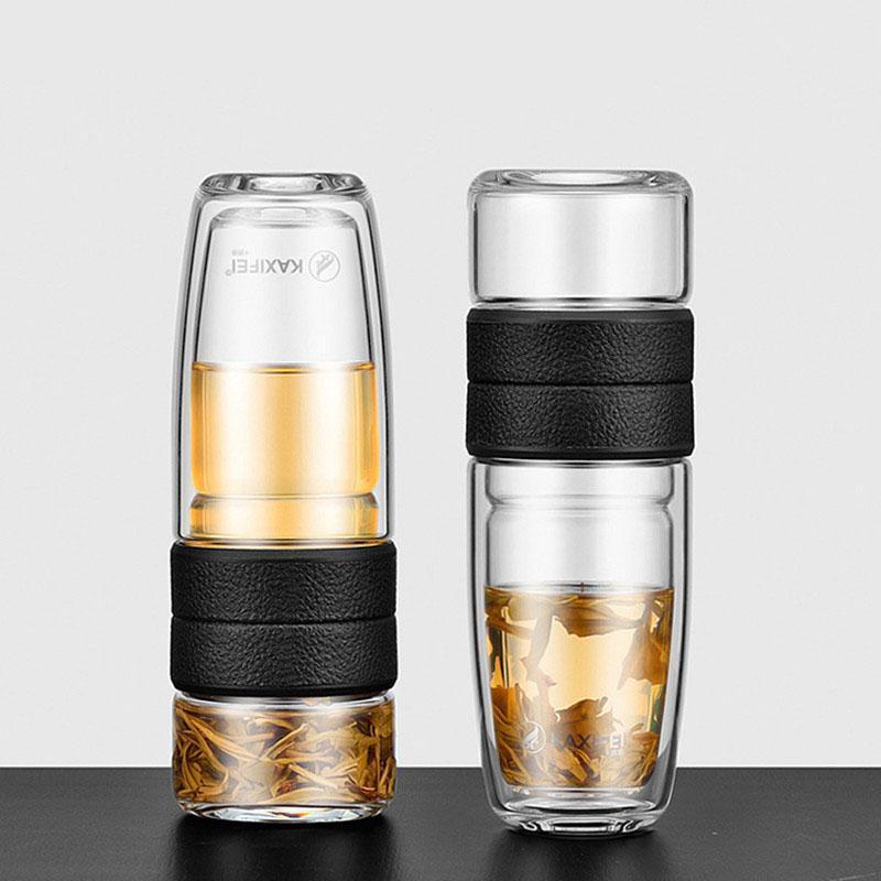 Benim Çift Duvar Cam Çay Su Şişesi Demlik Tumbler Paslanmaz Çelik Filtre Adam Şarap Kadehleri Için Taşınabilir Bussiness Hediye