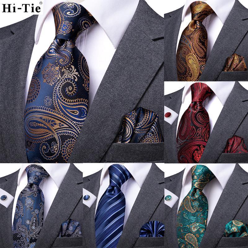 Yay Ties Hi-Tie Ipek Düğün Kravat Erkekler Için Moda Lüks Paisley 160 cm Uzun Kaliteli Erkek Hediye Cravatas Hanky Kol Düğmeleri Bussiness