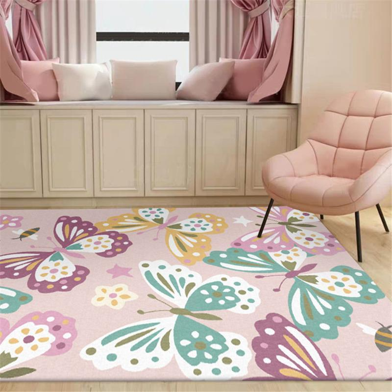 Teppiche Modisch Rosa Schmetterling Print Teppich Mädchen Raum Süße Prinzessin Stil Nachttischkissen Living Home Decoration