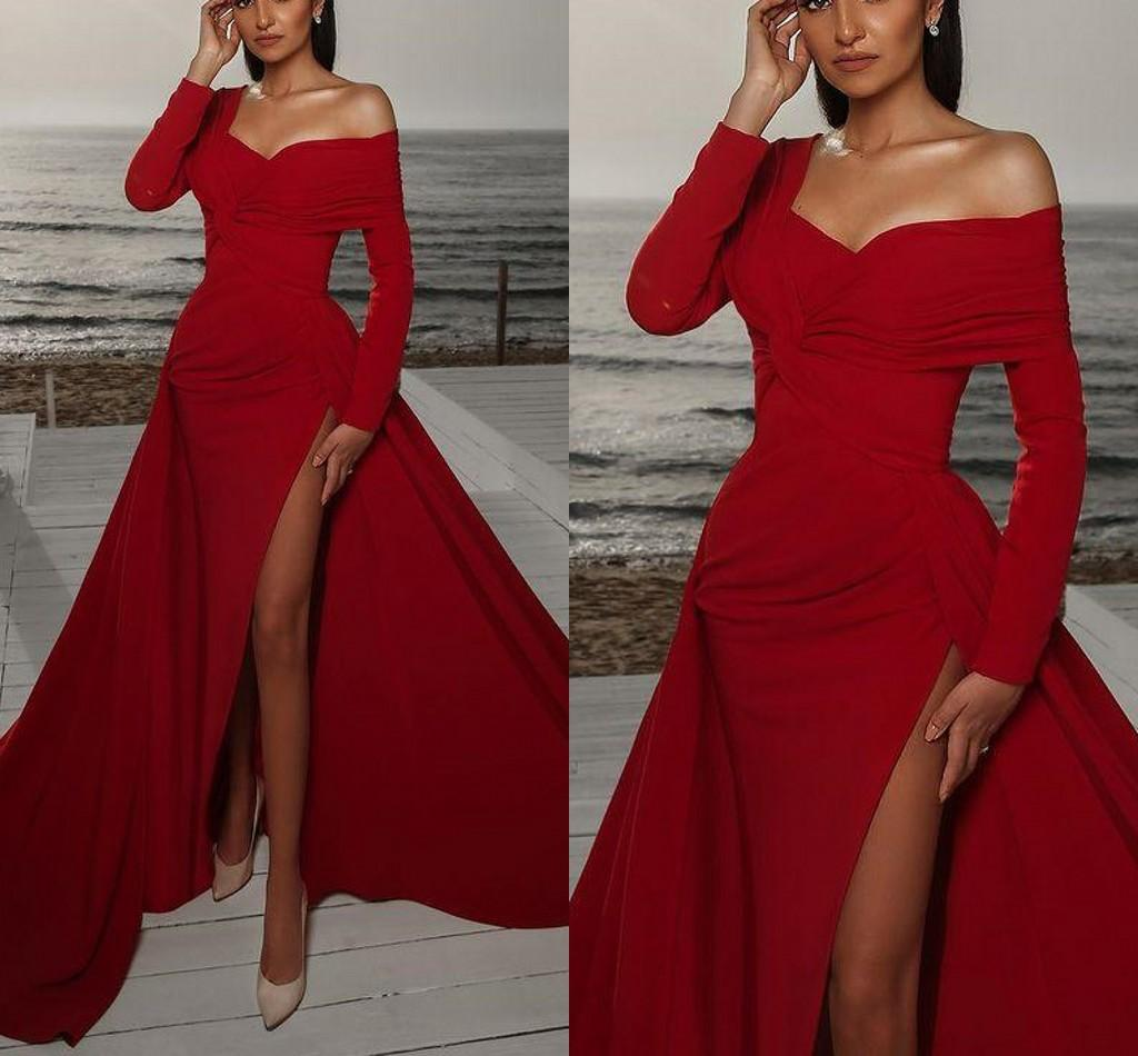 Arabic Red Sexy Mermaid Prom Dresses High Split Long Sleeves Satin Evening Dress Formal Party Second Reception Gowns