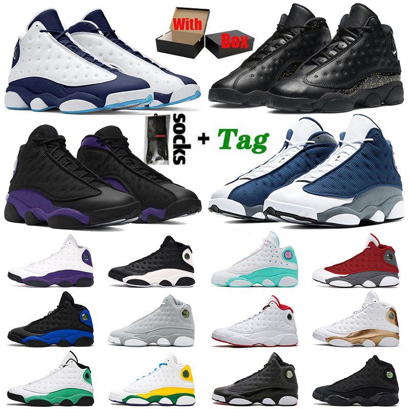أحذية Nike Air Jordan Retro 13 Jordans أحذية كرة السلة للرجال والنساء Jumpman 13S Dark Powder Blue Court Purple Reverse Bred XIII Red Flint Black Cat أحذية رياضية