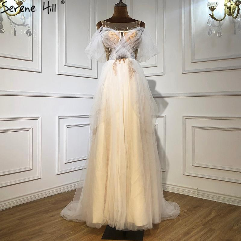 고요한 언덕 화이트 간단한 섹시한 이브닝 드레스 가운 2021 A-Line Beading Tulle 여성 파티 LA71000