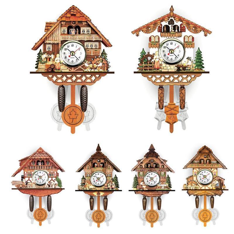 Relojes de pared antiguo de madera Reloj de madera Pájaro cuco tiempo reloj reloj moderno breve hogar decoración de la sala de estar
