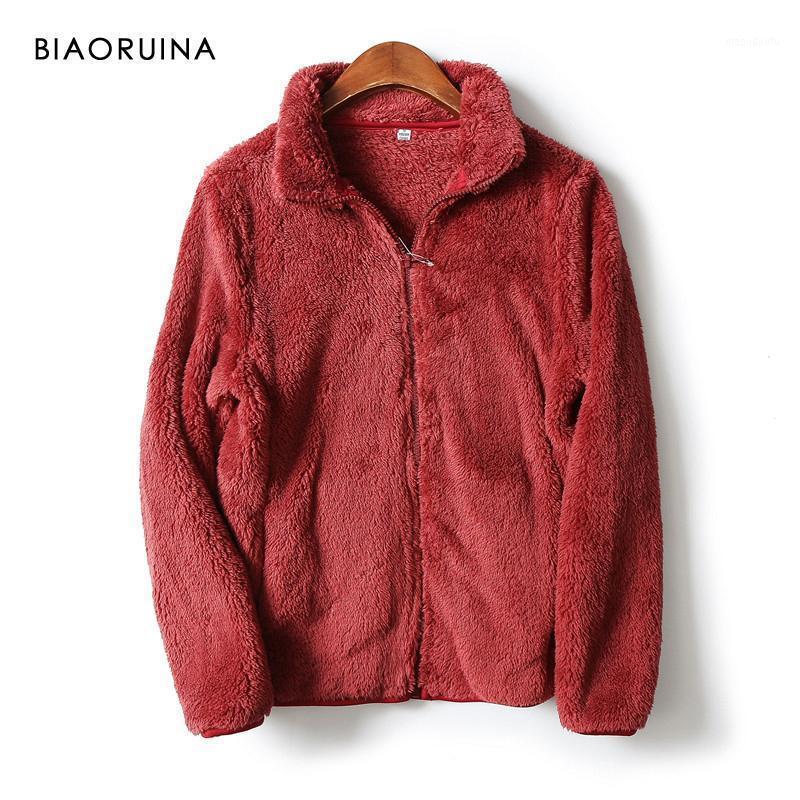 Biaoruina 10 اللون المرأة الصوف الراحة الدافئة الخريف الشتاء سترة zip up الإناث عارضة فو الفراء البرية معطف فضفاضة outerwear1