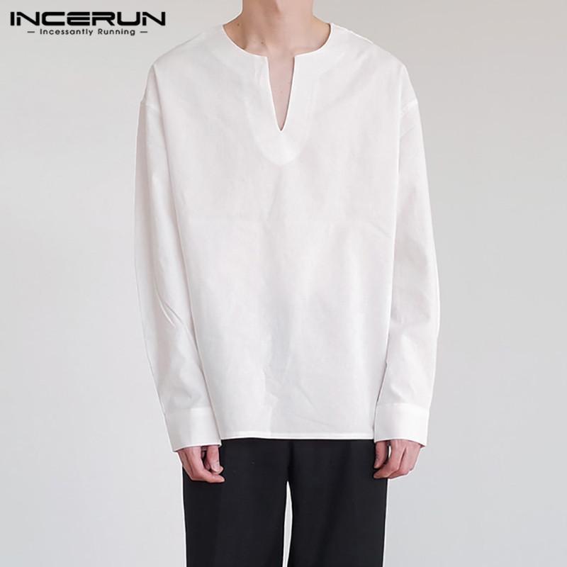 남성 솔리드 컬러 드레스 셔츠가 긴 소매 V 넥 캐주얼 셔츠 남자 세련된 느슨한 블라우스 봄 레저 면화 Camisa S-5XL 남자