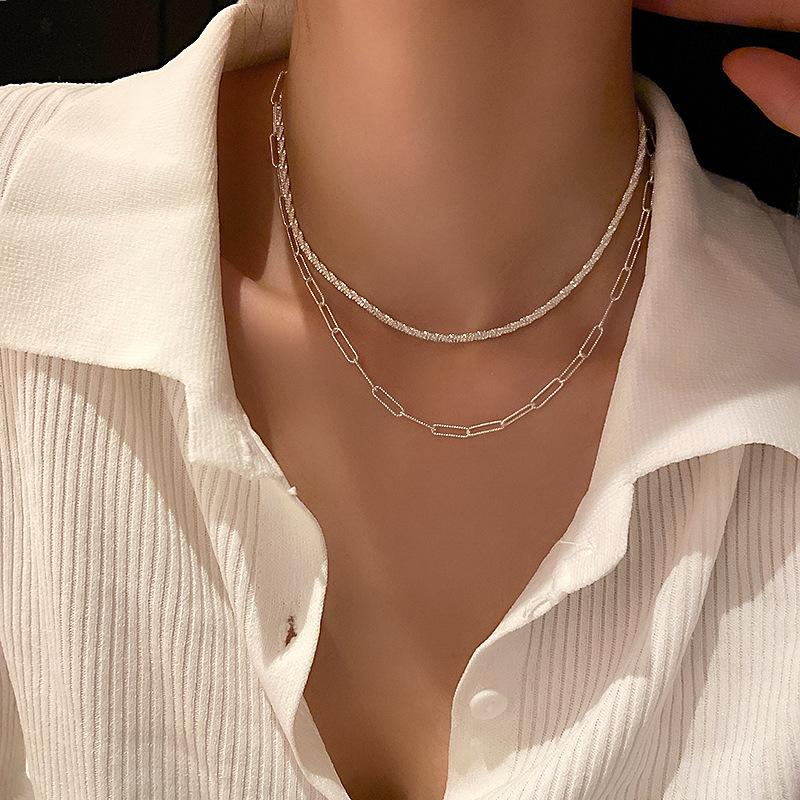 Pendant Necklaces Wholesale fashion 2 piece layer Gypsophila Paper clip chain necklace bracelet ring set