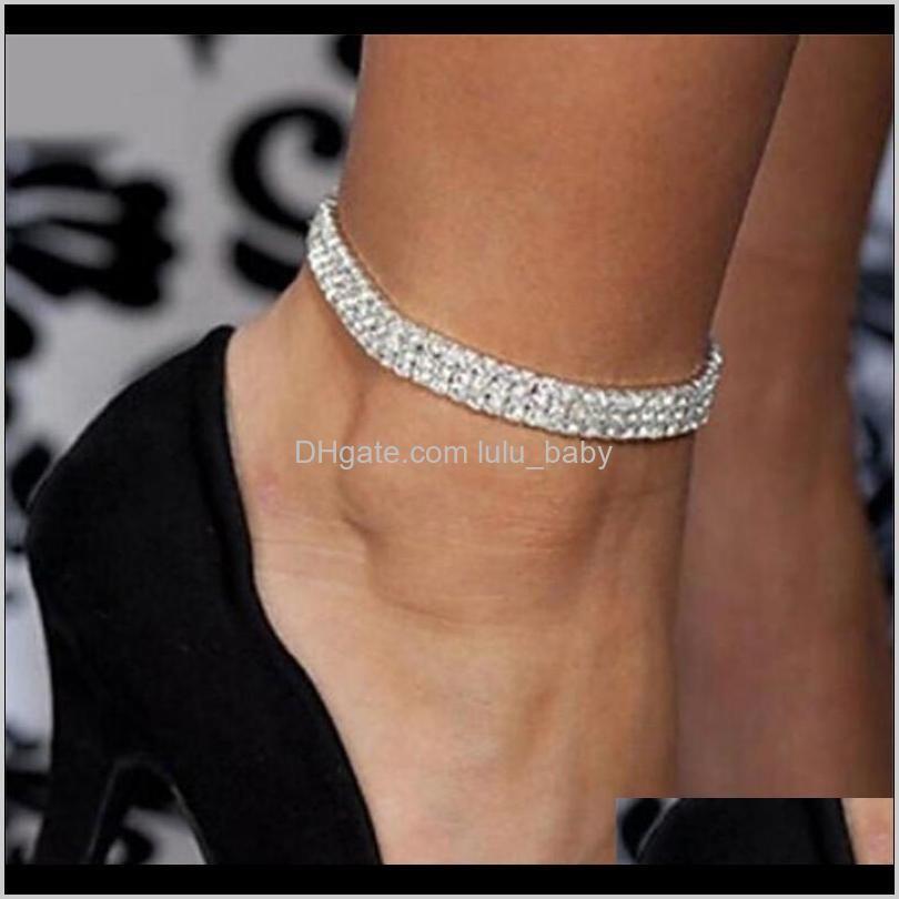 Fußklets Großhandel Kristall Strass Tennis Knöchelkette Fußkettchen Armband Sexy Frauen Sommer Strand Sand Schmuck 3 Reihen M5DOP AI9TE