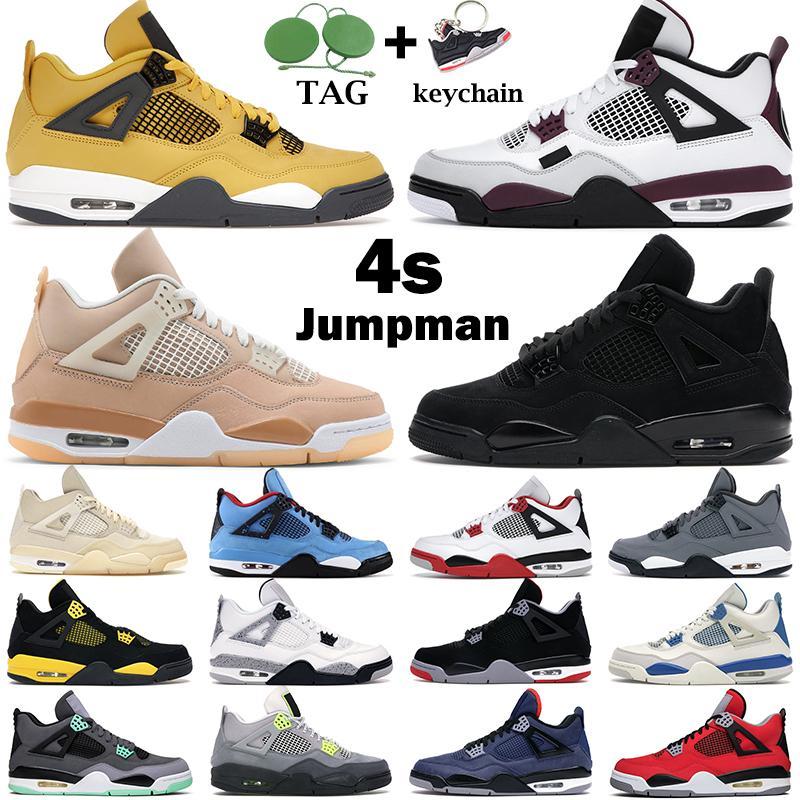 Chaussures de basket-ball Hommes Jumpman 4s Shimmer Feu Red 4 Black Cat Désert Moss Université Blue Bred Sail Cactus Jack Thunder Hommes Baskets sportifs