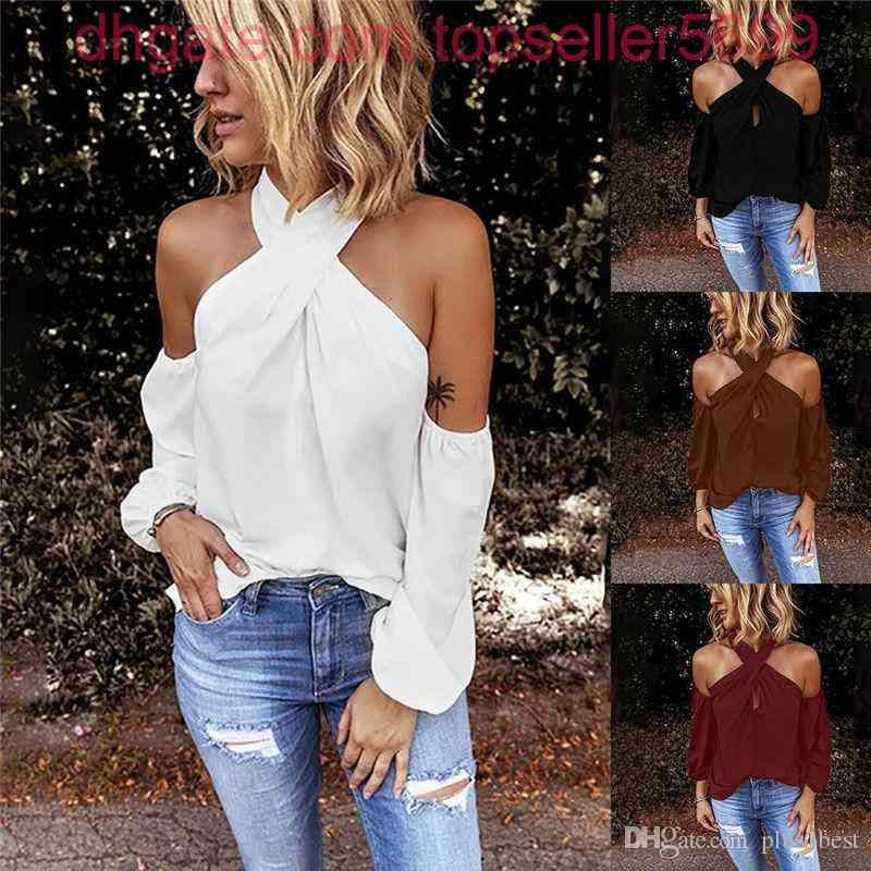Criss-Cross Halter Womens T-shirt a maniche lunghe a maniche lunghe senza schienale tees casual sexy breve estate