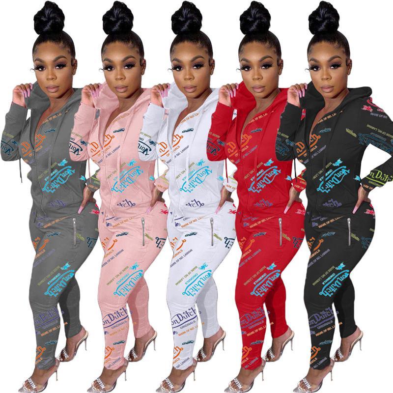 Von Güz Kış Kadın Ceket Tayt Kıyafetler İki Adet Pantolon İkinci Koşu Takımları 2XL Baskılı Hoodies Pantolon Eşofman Giyim DHL 5559