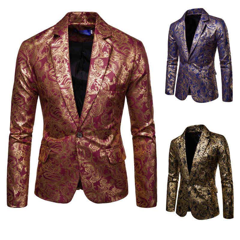 NOUVEAU Mode Blazers Gold Glitter Male NightClub One Bouton Costume Blazer Hombre Mariage Fête Fleur Vestes Hommes