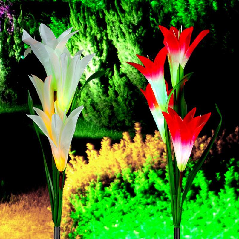 Ao ar livre LED luz solar RGB cor lírio jardim flor impermeável lâmpada decorativa lâmpada de energia solar gramado varanda rua luz