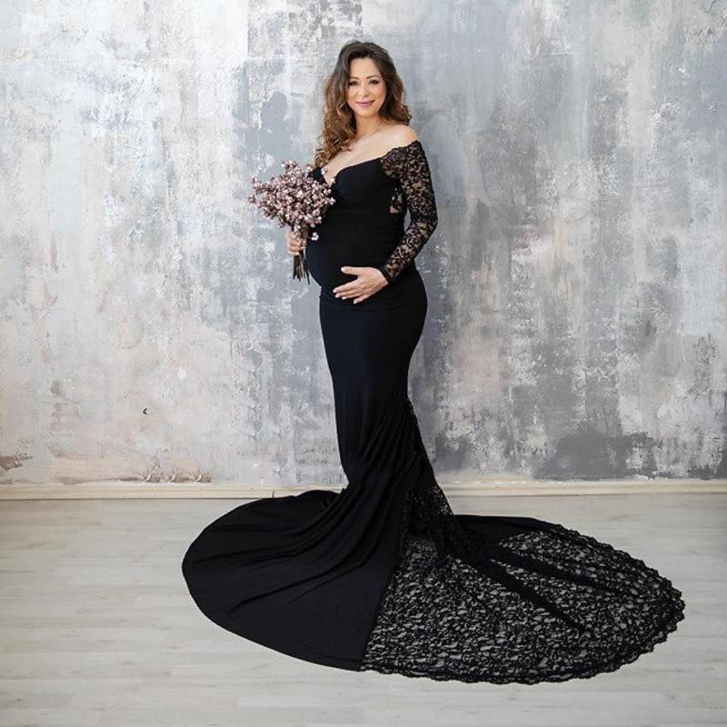 임신 한 여성용 레이스 옷을 입은 면화 V-Neck Tail Dress Pography PO 출산 여성용 긴 드레스