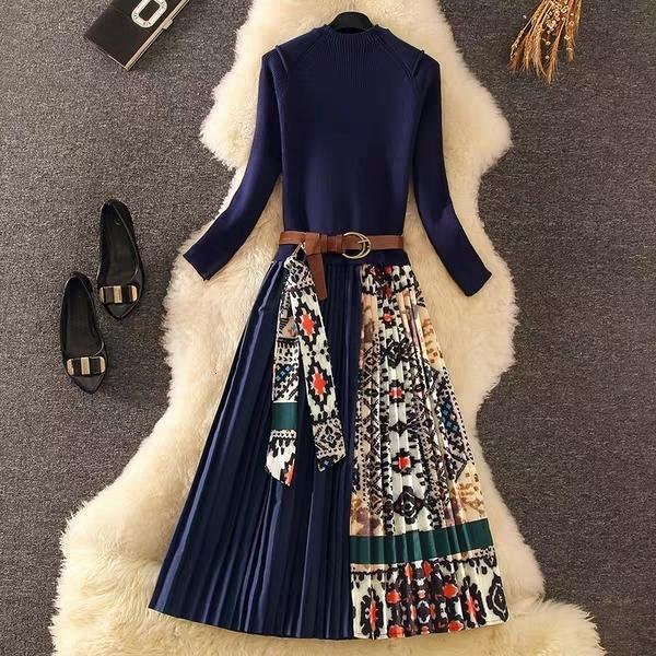 MERCHALL 2020 Yüksek Kalite Yeni Sonbahar kadın Uzun Kollu Zarif Örme Patchwork Elbise Çiçek Pileli Kazak Midi Elbise