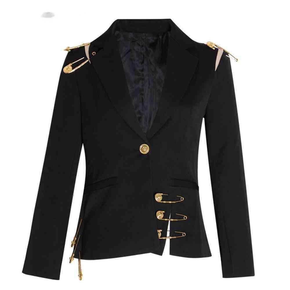 Пустые пятно на шнуровке женские пиджаки зарученный с длинным рукавом стройный элегантный женский костюм осень моды новый