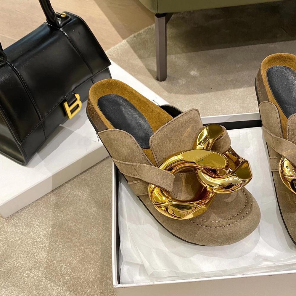 Sandálias Verão Fechado Chinelos De Couro De Camurça De Couro Para As Mulheres Jardim Clog Slides Cadeia Designer Sapatos Mules Za DK3G