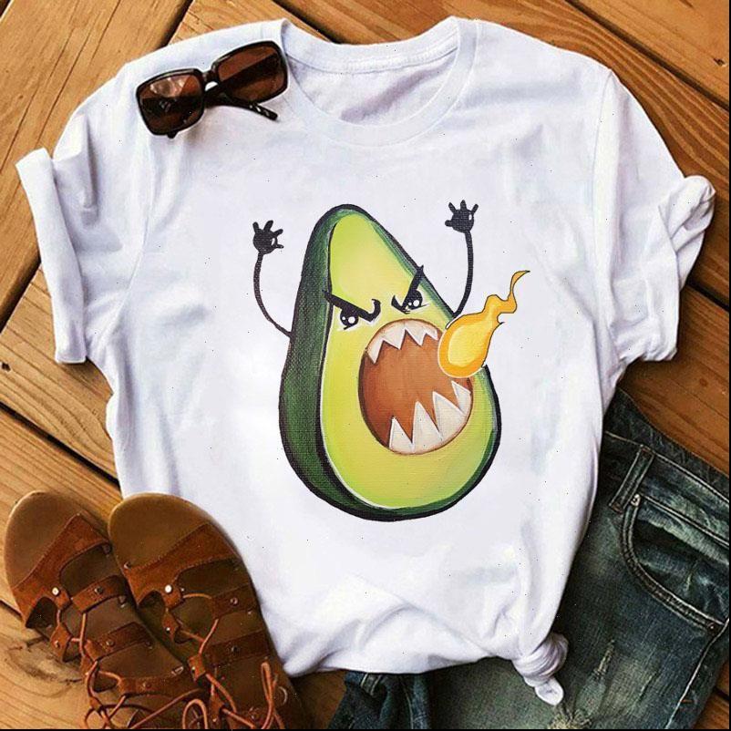T-shirt da donna divertente estate manica corta Top Tee Angry Avocado stampato cartone animato cartone animato camicie grafiche camiseta femmina
