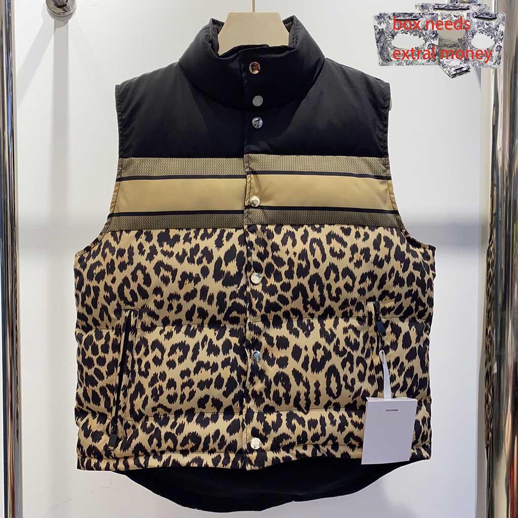 2021 hombres chalecos clásico leopardo leopardo estampado de impresión a la moda espesar pareja chaquetas otoño invierno abrigo al aire libre se puede usar en ambos lados