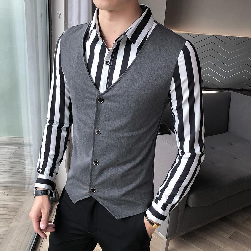 플러스 사이즈 5XL-M 나이트 클럽 가짜 2pieces 남성용 셔츠 2021 간단한 접합 디자인 슬림 피트 긴 소매 캐주얼 블라우스 남자