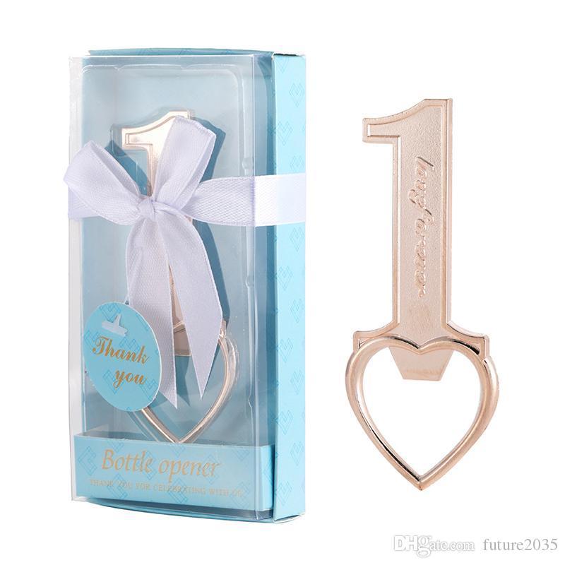 Metal Beer Bottle Opener Creative Number 1 Heart Shaped Corkscrew Wedding Gift Household Kitchen Tool