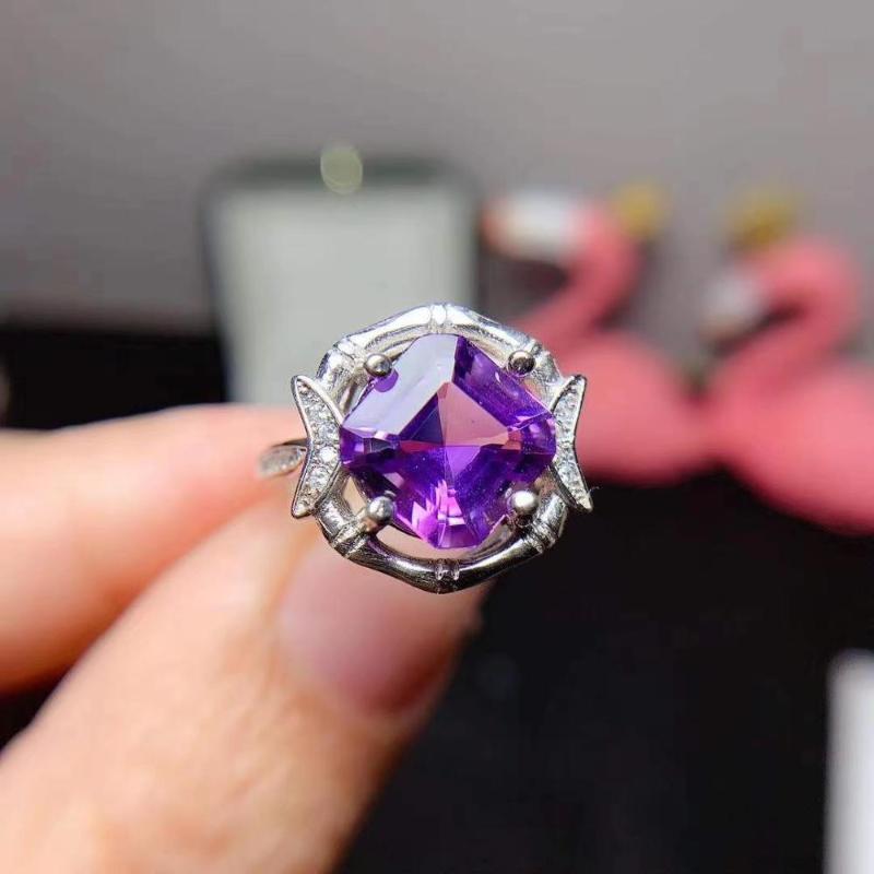 Das Verlobungsgeschenk Amethlys Ring natürliches und echtes 925er Sterlingsilber für Männer oder Frauen-Clusterringe
