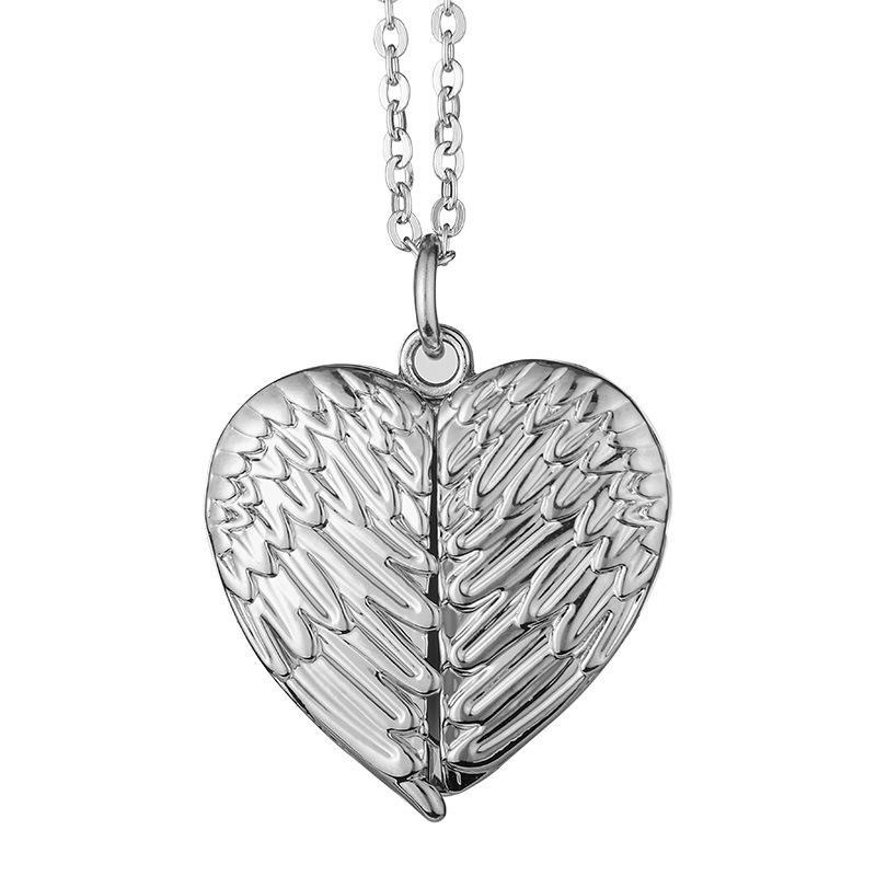 Wing Openable Necklace Sublimation Blanks Love Heart Pendants Chain Angel Lovers Charms Jewelry Zinc Alloy Valentine Day 8 5mo CA15