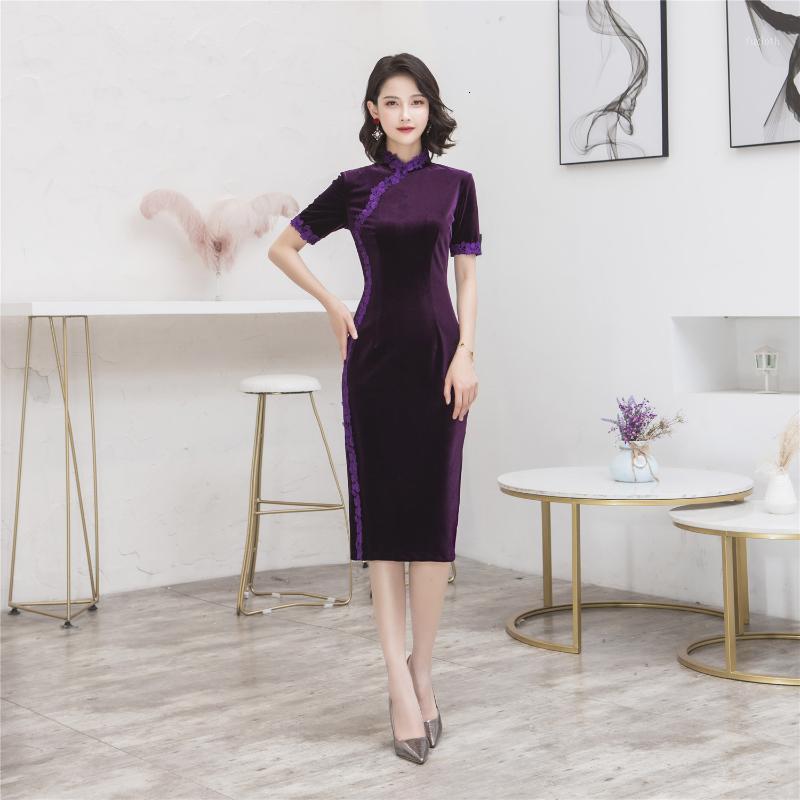 상하이 스토리 레이스 테두리 무릎 길이 cheongsam velor qipao 중국 전통 dress1