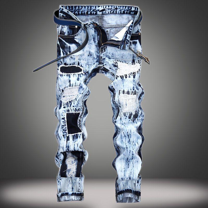 Mode-Designer Männer S-Kleidung Herren Jeans Gestickte Loch Patch Farbe Matching Hosen gerade
