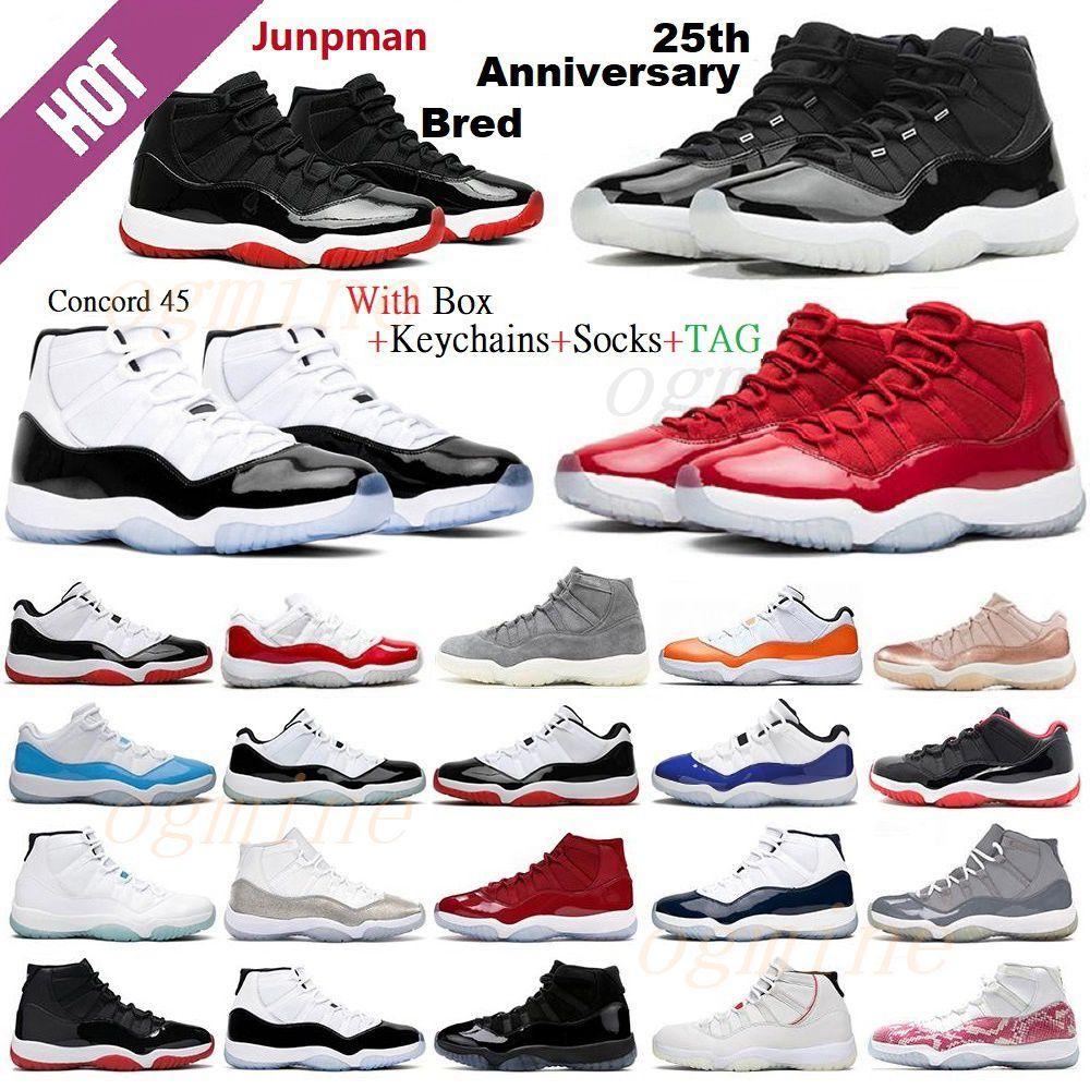 Sauteur Rétro air jordan jordans aj11 11s jordon 11 25e anniversaire Chaussures de basketball Top Qualité Concord Space Congrès Hommes Université Bleu Rouge 72-10 Sneakers 36-46
