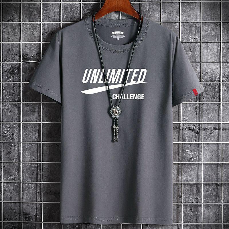 Nouveau T-shirt Homme de l'été Mode semi-coupé Coton Coton décontracté Sleeve Sleeve Top6T0F