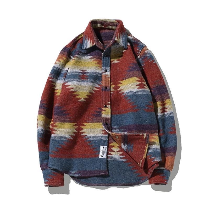 Folk-custom Shirts for Men Vintage Woolen Leisure Pattern dress casual Shirt Men Plus Size Streetwear Chemise Homme flannel 210414