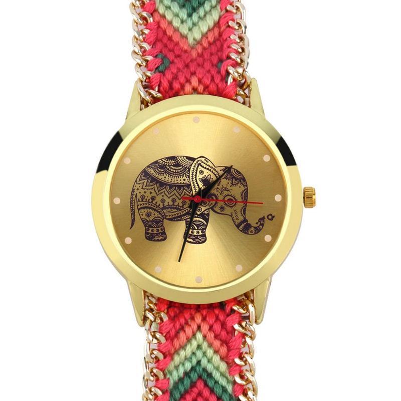 Kadın Cenevre Etnik Pamuk Karışımı Marka El Yapımı Örgülü Fil Bilezik İzle Quarzt Saati Elbise WatchClearance Saatı