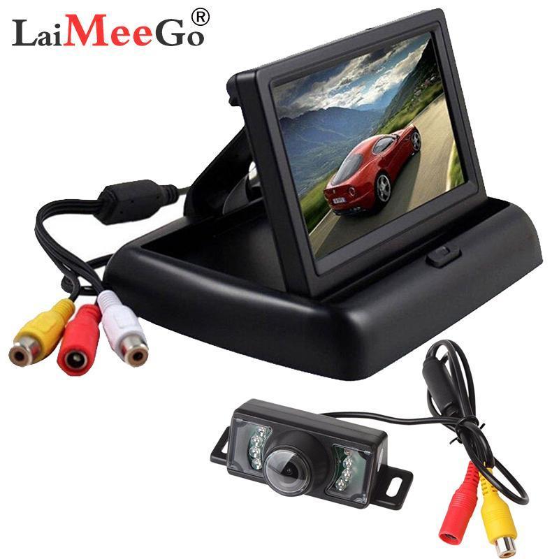 """Monitor de video del coche 4.3 """"Pantalla para la cámara de visión trasera Color plegable TFT LCD PAL / NTSC Auto Aparcamiento Retrovisor Copia de seguridad"""