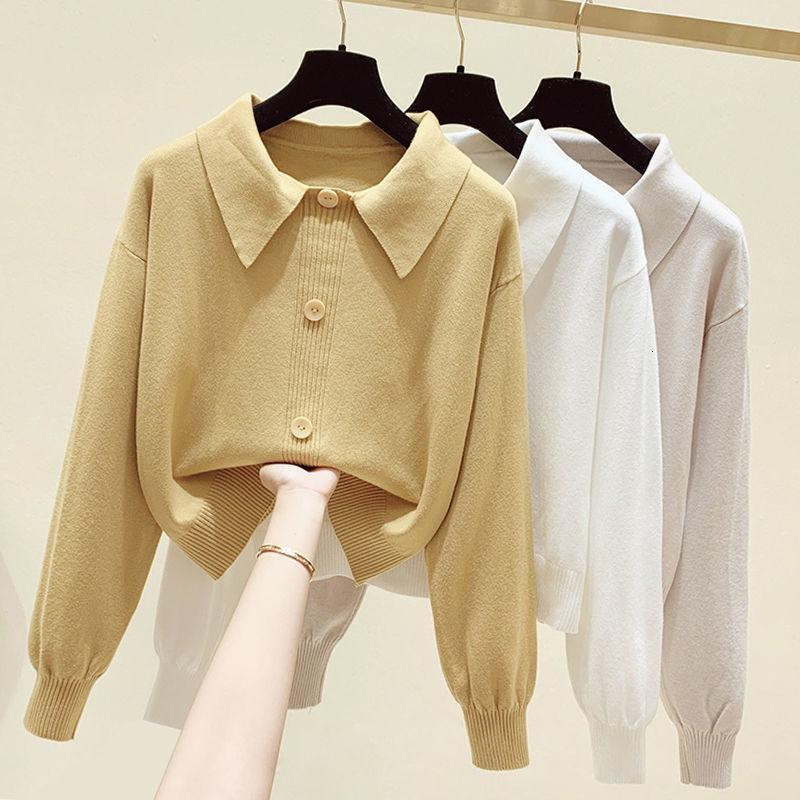 Short sweater women's 2021 spring loose design niche top long sleeve baby collar Pullover Sweater