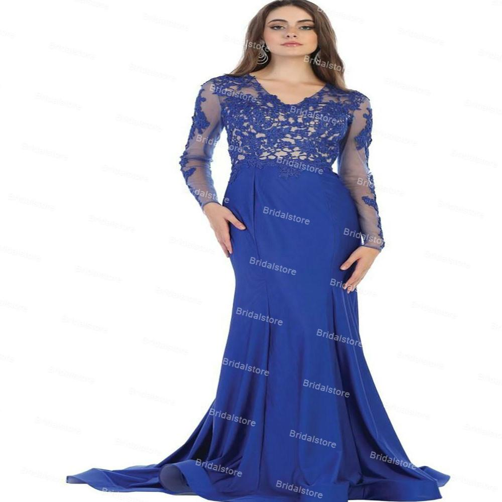 Chic Long Sleeve Royal Blue Wedding Guest Dress 2021 Elegant V Neck Satin LaceMermaid Mother Of The Bride Dresses Backless Robe Longue Women Evening Prom Wear Skirt
