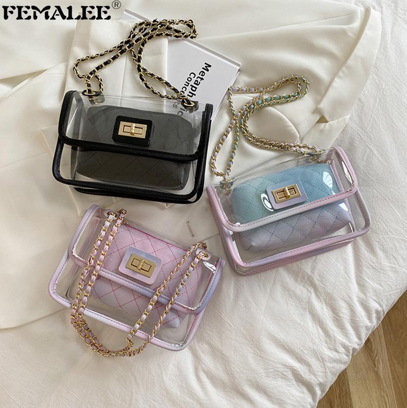 Bolsas de hombro Clear Designer Mujeres Flap Bolsos Cadenas de Moda PVC Elegante Crossbody Sac Luxury Transparente Mujer Un Main