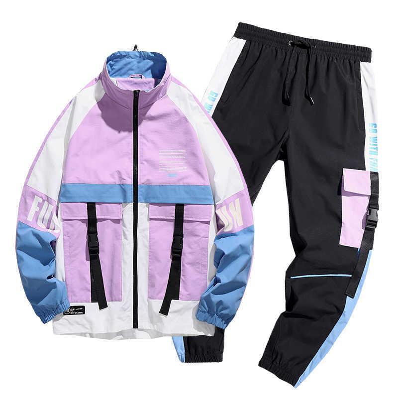 Erkekler Streetwear Eşofman Harajuku Joggers Suit Setleri Erkek Eşofman Ceket + Pantolon 2 ADET Setleri İlkbahar Sonbahar Ceketler + Uzun Pantolon X0610