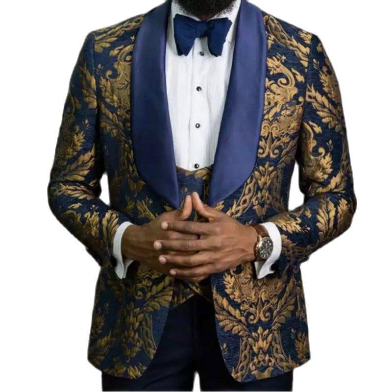 Handsome Navy With Gold Paisley Groom Tuxedos Men's Evening Dress Toast Suit Party Blazer Clothes (Jacket+Pants+Vest+Tie) NO:088