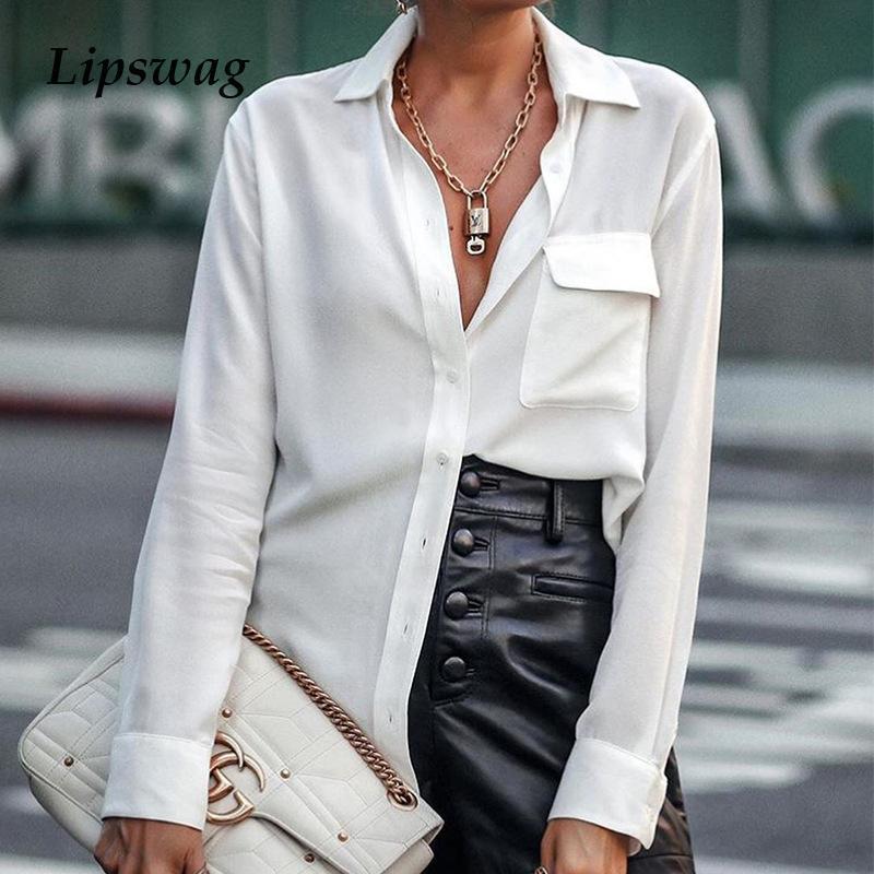 Elegante Büro Dame Solide Bluse Hemden Frauen Abwärtskragen Langarm Button Tops 2021 Spring Pocket Blusas Streetwear Damen Blusen