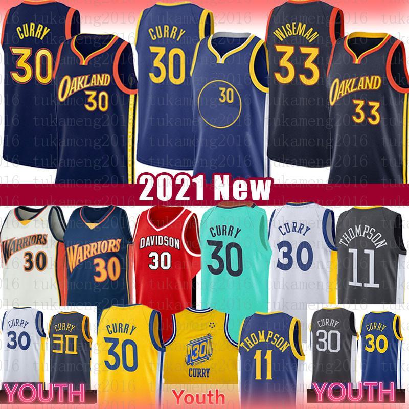 ستيفن 30 كاري جيمس 33 ويزمان كرة السلة جيرسي للرجال رجال شباب أطفال 2021 جولدن كلاي 11 ولاية طومسونالمحاربونجيرسي
