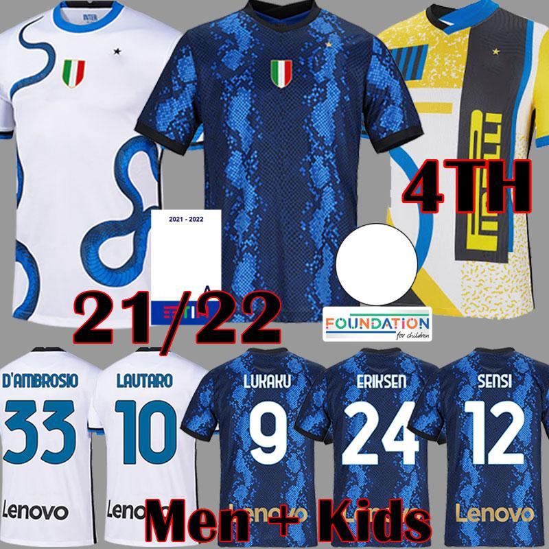 21 22 Lukaku Lautaro Forth 4th Futebol Jersey de Vrij Vidal Barella Milão Milão Eriksen Camiseta Inter 2021 2022 Manga Comprida Hakimi Gagliardini Homens Kit Kit Sets