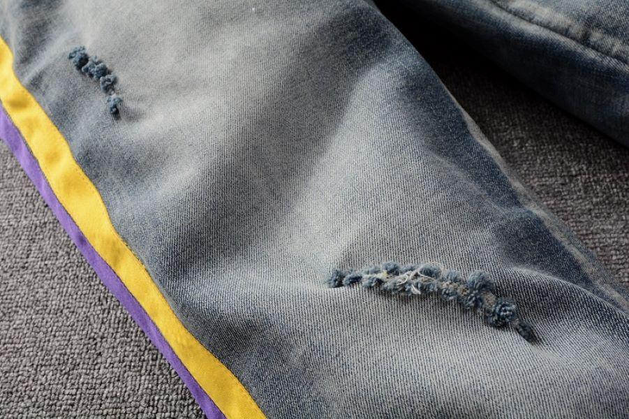 Мода тонкий новый дизайнер повседневная мужская полоса джинсы летом тонкий стиль мотоцикл молодежь джинсовые брюки размер 28-40