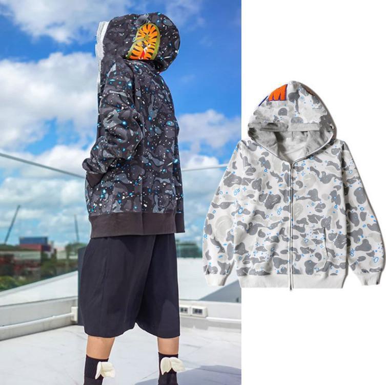 유럽 아메리칸 패션 브랜드 스타 야간 가벼운 상어 더블 모자 스웨터 남성과 여성 연인 힙합 스트리트 까마귀 21SS 겨울